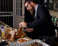 Het snijden van het Dankzeggingsdiner Turkije Royalty-vrije Stock Afbeelding