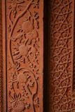Het snijdende patroon van de steen in Fathepur Sikri, India Stock Foto's