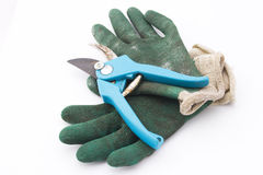 Het snoeien van scharen met handschoenen stock afbeeldingen
