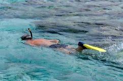 Het snorkelen in Aitutaki-Lagune Cook Islands Royalty-vrije Stock Foto's