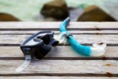 Het snorkelen en het strand Stock Afbeeldingen