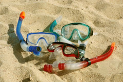 Het snorkelen in het zand Stock Fotografie