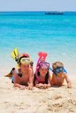 Het snorkelen jonge geitjes Royalty-vrije Stock Foto's