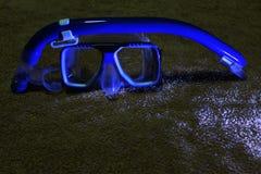 Het snorkelen materiaal blauwe reeks stock foto's