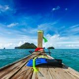 Het snorkelen reeks op boot Royalty-vrije Stock Afbeeldingen
