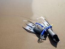 Het snorkelen reeks op het strand Royalty-vrije Stock Afbeelding