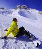 het snowboarding binnen solden Oostenrijk Stock Afbeeldingen