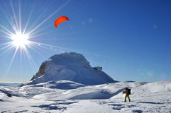 het snowkiting Stock Foto