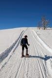 Het snowshoeing van de vrouw Stock Foto