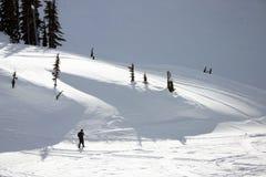 Het snowshoeing van mensen Stock Foto