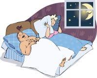 Het snurken mens met vrouw Royalty-vrije Stock Fotografie