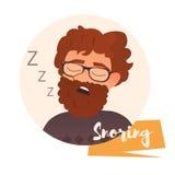 Het snurken mens Vector Royalty-vrije Stock Foto