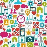 Het sociale media naadloze patroon van netwerkpictogrammen backgr Stock Fotografie