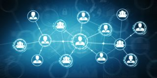 Het sociale netwerk moderne vlakke interface 3D teruggeven Stock Fotografie