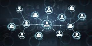 Het sociale netwerk moderne vlakke interface 3D teruggeven Royalty-vrije Stock Afbeelding
