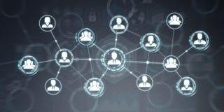 Het sociale netwerk moderne vlakke interface 3D teruggeven Stock Foto's