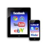Het sociale netwerk van mobiele Communicatiemiddelen Royalty-vrije Stock Afbeeldingen