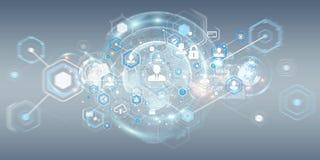 Het sociale netwerkinterface 3D teruggeven Stock Fotografie