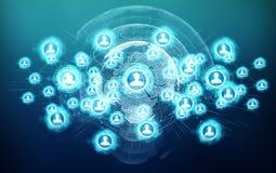 Het sociale netwerkinterface 3D teruggeven Stock Afbeelding