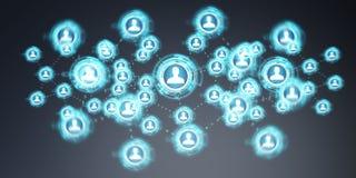 Het sociale netwerkinterface 3D teruggeven Stock Foto