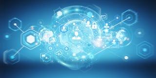 Het sociale netwerkinterface 3D teruggeven Stock Afbeeldingen
