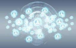 Het sociale netwerkinterface 3D teruggeven Stock Foto's