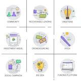 Het sociale Pictogram de Ontwikkelings van de van het Bedrijfs campagne Nieuwe Idee Financieringsstrategie royalty-vrije illustratie