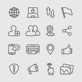 Het sociale pictogram van de voorzien van een netwerklijn Stock Fotografie