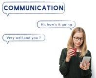 Het sociale van de de Bellentekst van de Netwerktoespraak Grafische Concept Stock Fotografie