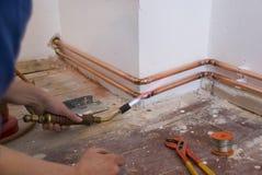 Het solderen van de loodgieter Royalty-vrije Stock Foto's