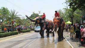 Het Songkranfestival wordt gevierd met olifanten in Ayutthaya Stock Foto
