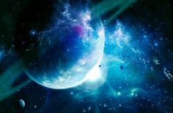 Het Soort van artistiek Abstract Cyaansaturn Planeet op een Vlotte Melkwegachtergrond royalty-vrije illustratie