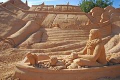 Het Spaanse beeldhouwwerk van het fregat grote zand, Algarve, Portugal Stock Afbeelding