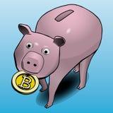 Het spaarvarken draagt bitcoin in zijn mond royalty-vrije illustratie