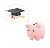 Het spaarvarken droomt een graduatie Royalty-vrije Stock Foto