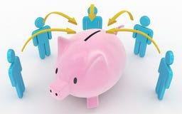 Het spaarvarken en bewaart omhoog vennootschapconcept Stock Foto
