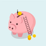 Het spaarvarken en de mens werpen een Isometrische vlakte van de muntstukillustratie Stock Afbeelding