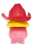 Het spaarvarken van de cowboybouwer Royalty-vrije Stock Foto's