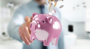 Het spaarvarken van de zakenmanholding met vliegende 3D muntstukken gaande binnenkant Royalty-vrije Stock Afbeeldingen