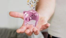 Het spaarvarken van de zakenmanholding met vliegende 3D muntstukken gaande binnenkant Royalty-vrije Stock Foto