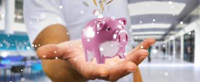 Het spaarvarken van de zakenmanholding met vliegende 3D muntstukken gaande binnenkant Stock Afbeeldingen