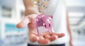 Het spaarvarken van de zakenmanholding met vliegende 3D muntstukken gaande binnenkant Stock Afbeelding