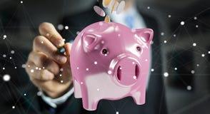 Het spaarvarken van de zakenmanholding met vliegende 3D muntstukken gaande binnenkant Stock Fotografie
