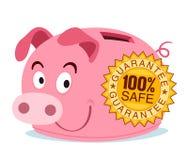 Het spaarvarken wordt gemerkt met waarborgzegel Royalty-vrije Stock Foto