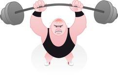 Het spannen van Weightlifter onder zijn gewichten Stock Afbeeldingen