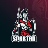 Het Spartaanse vectorontwerp van het mascotteembleem met de moderne stijl van het illustratieconcept voor kenteken, embleem en t- vector illustratie