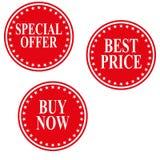 Het speciale aanbiedingkenteken, beste prijsetiket, koopt nu markering vastgestelde vectoreps10 stock illustratie
