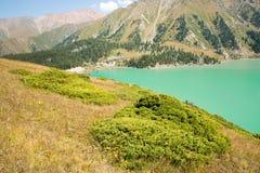 Het spectaculaire toneel Grote Meer van Alma Ata, Tien Shan Mountains in Alma Ata, Kazachstan, Azië Royalty-vrije Stock Foto