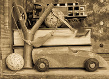 Het Speelgoed van de jongen - Nostalgische Achtergrond Royalty-vrije Stock Afbeelding