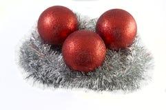 Het speelgoed van de Kerstmisvakantie over witte achtergrond Royalty-vrije Stock Afbeeldingen